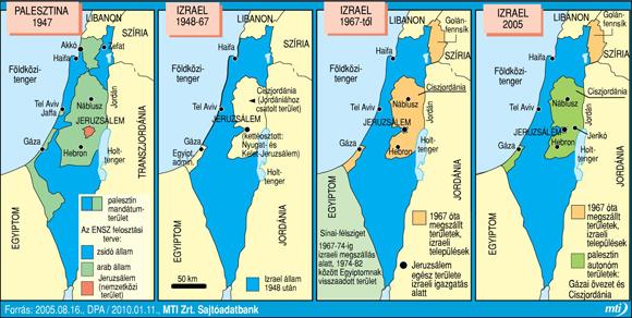Izrael: Palesztina 1947; Izrael 1948-67, 1967-től; 2005