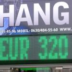 A forint árfolyama szerdán átlépte a 320 forintos euró jegyzést
