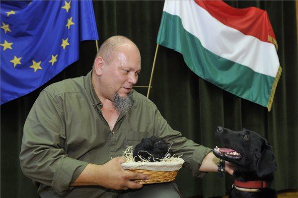 Papp Béla, a július 26-án Jászivány térségében megtalált rekordméretű nyári szarvasgomba (Tuber aestivum) megtalálója Milla nevű kutyájával a Földművelésügyi Minisztériumban