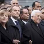 Jobbra Orbán Viktor miniszterelnök, mellette Francois Hollande francia elnök (b), Angela Merkel német kancellár (b2), Donald Tusk, az Európai Tanács elnöke (b3) és Mahmúd Abbász, a Palesztin Hatóság elnöke (j2)