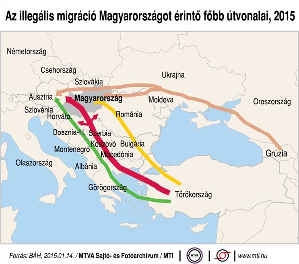 Az illegális migráció Magyarországot érintő főbb útvonalai, 2015