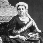 Queen Victoria , sitting on an ivory throne