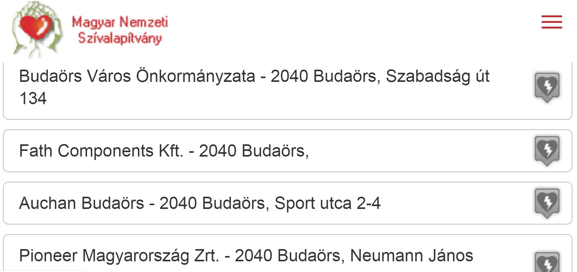 defibrillator_helyszinek_Budaorson