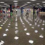 A felhőszakadás miatt víz áll Budapesten a Nagyvárad téri aluljáróban
